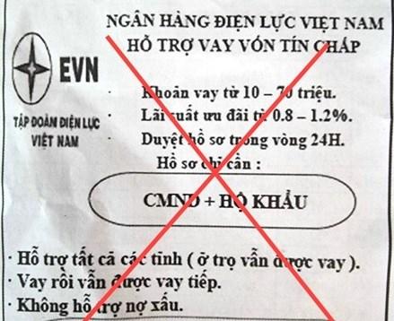 Cảnh báo giả mạo thương hiệu EVN để quảng cáo cho vay tín chấp