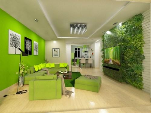 Căn phòng màu xanh lá tiếp đón khách đến chơi nhà