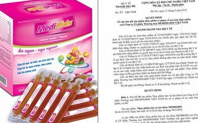 Thu hồi thực phẩm bảo vệ sức khoẻ Medikids của Medipharm Việt Nam