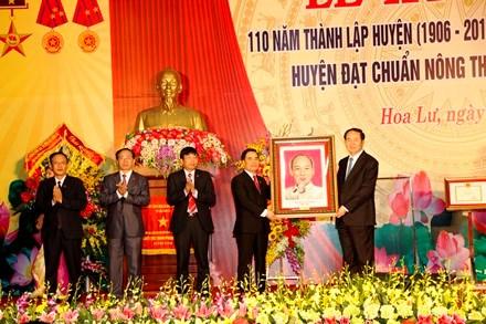 Hoa Lư vinh dự đón nhận danh hiệu huyện nông thôn mới đầu tiên của Ninh Bình