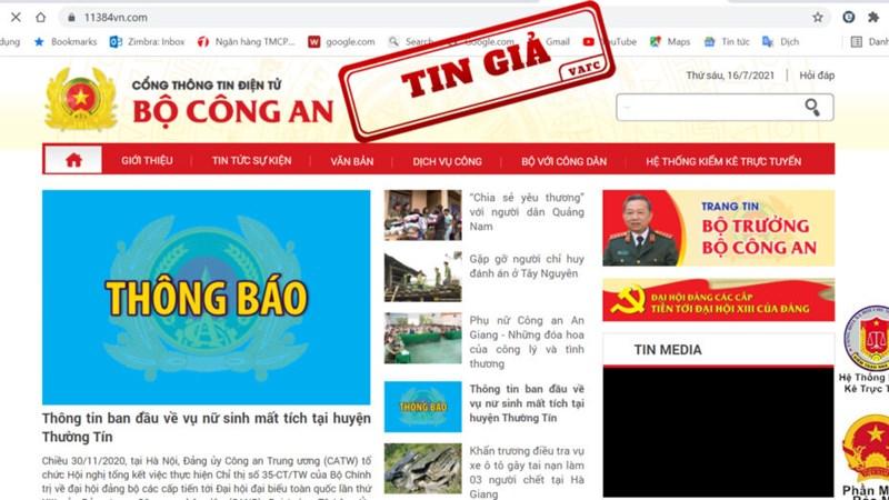 Website giả mạo Cổng thông tin điện tử Bộ công an