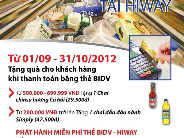 Ưu đãi đặc biệt tại siêu thị Hiway Supercenter dành cho chủ thẻ BIDV