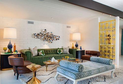 Phòng khách nổi bật với tường gạch trắng