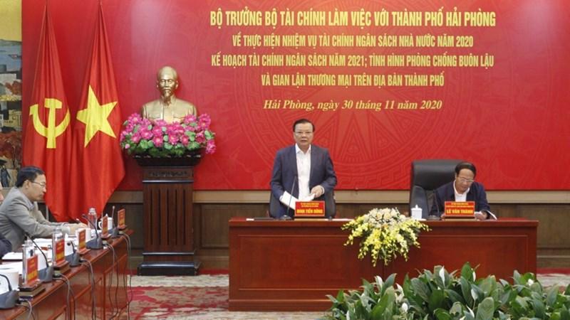 Bộ trưởng Đinh Tiến Dũng làm việc với TP. Hải Phòng về thực hiện nhiệm vụ tài chính - ngân sách nhà nước