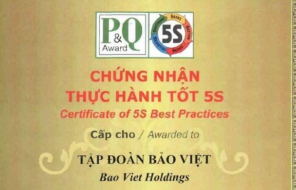 """Tập đoàn Bảo Việt đạt Chứng nhận """"Thực hành tốt 5S"""""""