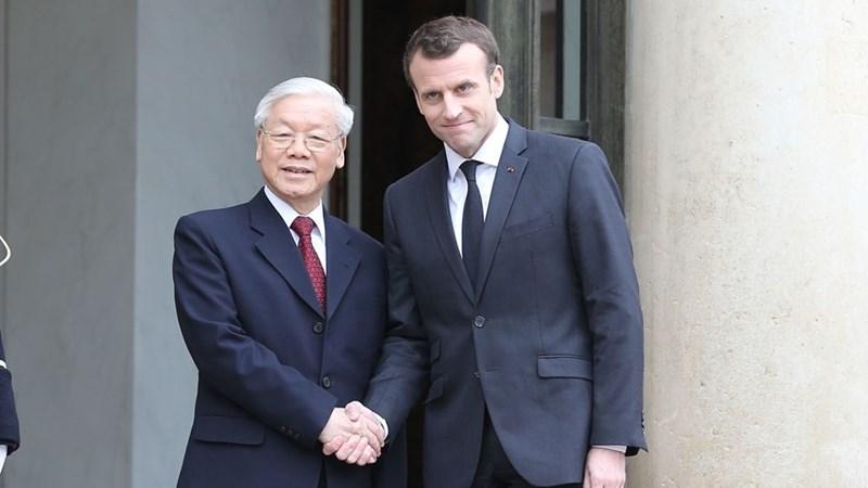 Tổng Bí thư Nguyễn Phú Trọng hội đàm với Tổng thống Emmanuel Macron