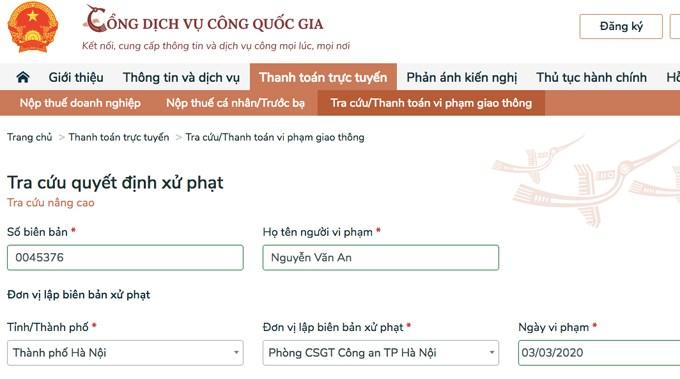 Người vi phạm giao thông được nộp phạt trực tuyến từ 30/6/2020