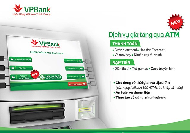 Thanh toán hóa đơn và nạp tiền ngay tại cây ATM của VPBank