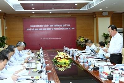Đoàn giám sát của Ủy ban Thường vụ Quốc hội làm việc với Agribank