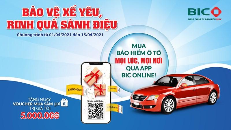 Tặng 5 triệu đồng cho khách hàng khi mua bảo hiểm vật chất ô tô qua ứng dụng BIC Online
