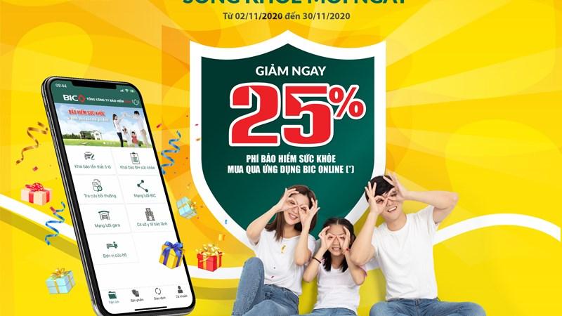 Tải app BIC online, nhận ưu đãi 25% bảo hiểm sức khỏe