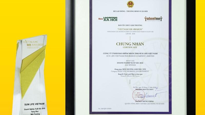"""Sun Life Việt Nam nhận giải thưởng """"Công ty có môi trường làm việc tốt"""""""