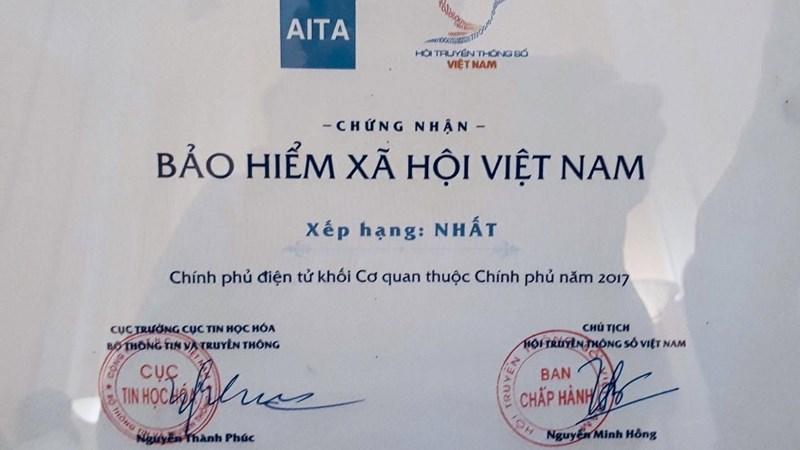 BHXH Việt Nam đứng đầu bảng xếp hạng ứng dụng công nghệ thông tin, phát triển Chính phủ điện tử