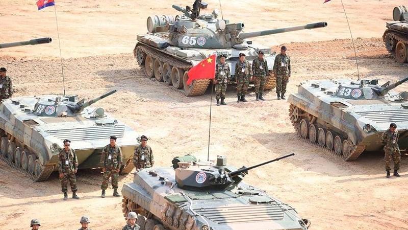 Xe tăng T-55 nâng cấp cực mạnh của Campuchia tham gia tập trận cùng Trung Quốc