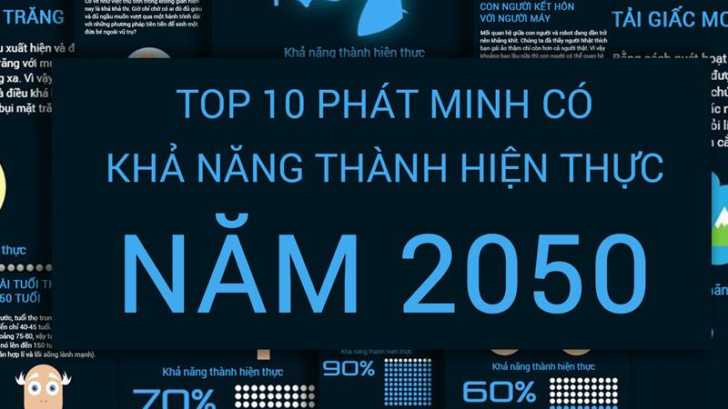 [Infographic] Top 10 phát minh có khả năng thành hiện thực vào năm 2050