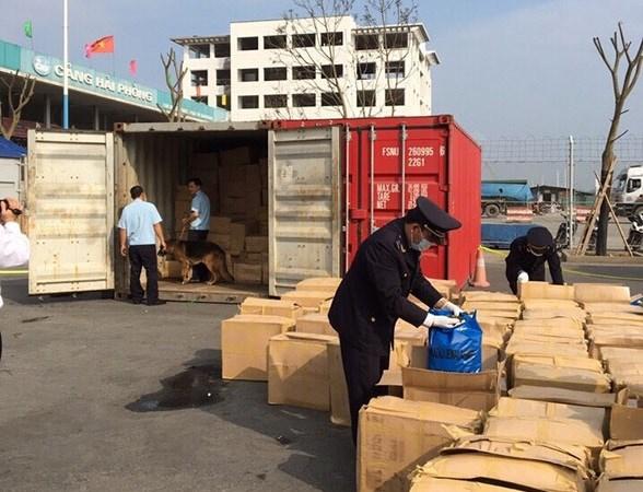 Hải quan hải phòng bắt giữ 1 container chứa lá shisha