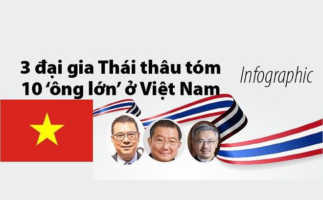 """[Infographic] 3 đại gia Thái nào thâu tóm 10 """"ông lớn"""" ở Việt Nam?"""