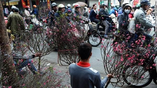 Chợ hoa Quảng Bá tại thủ đô Hà Nội (Việt Nam) những ngày cuối năm luôn đông đúc, bởi hoa là vật không thể thiếu trong mỗi gia đình Việt dịp Tết. Người mua cố gắng tìm những cành đào hoặc mai vàng bắt mắt nhất. Không khí đón xuân tràn ngập trên các nẻo đường. Ảnh: CNN.