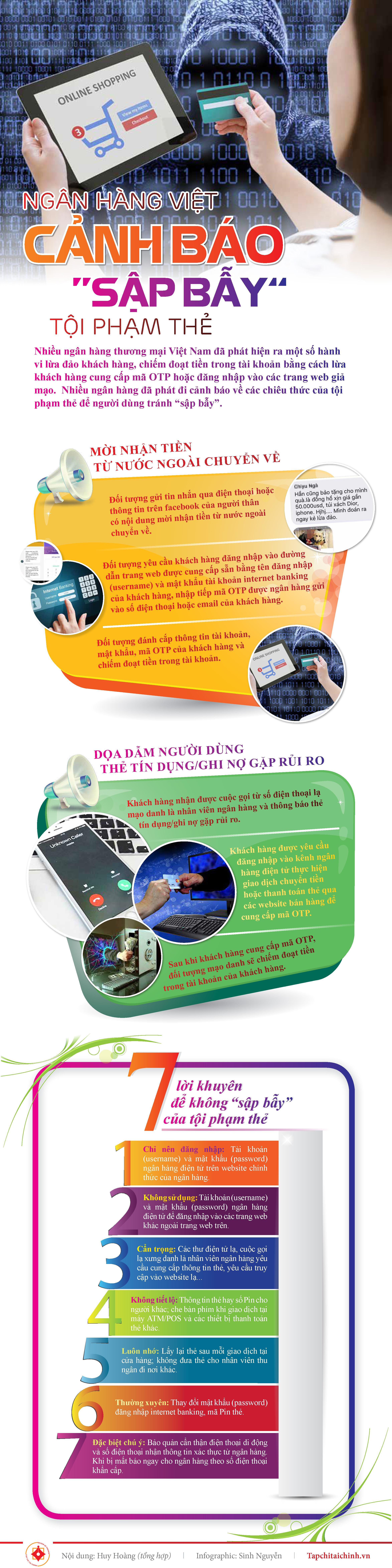 """[Infographics] Ngân hàng Việt cảnh báo """"sập bẫy"""" tội phạm thẻ - Ảnh 1"""