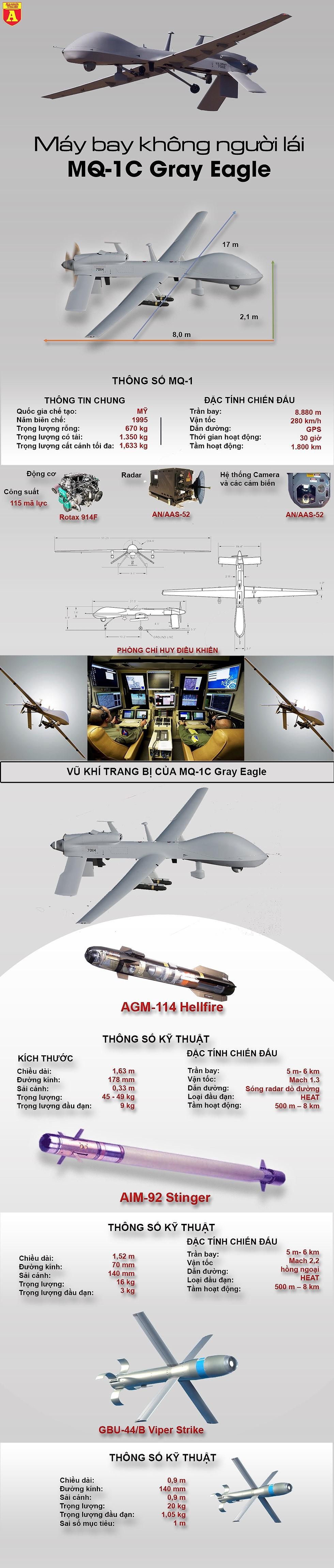 """[Infographics] Phiến quân hồi giáo vừa bắn rụng """"Đại bàng xám"""" do Mỹ chế tạo - Ảnh 1"""