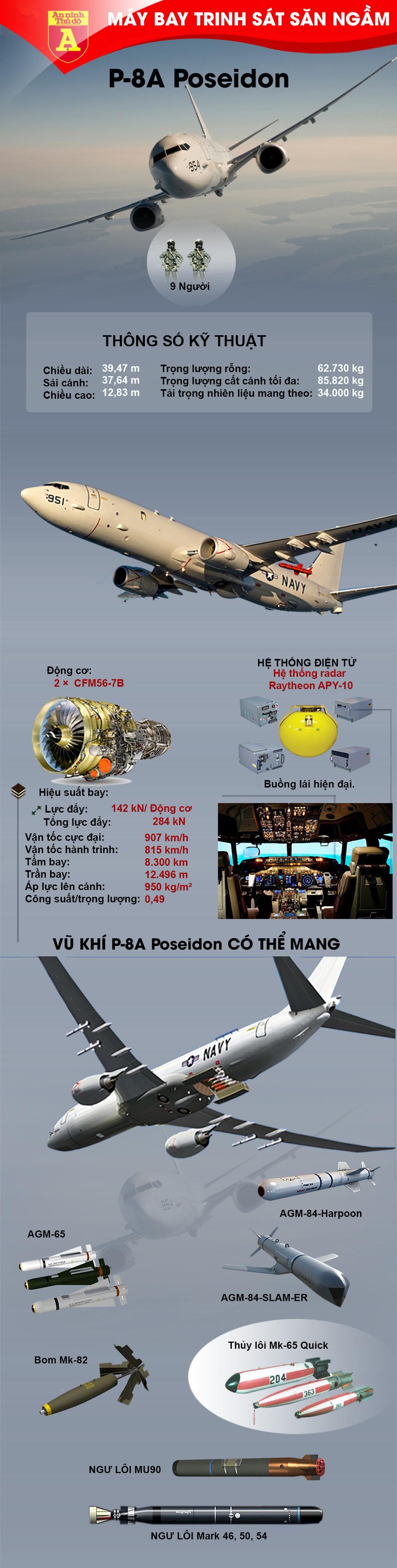 [Infographics] Mỹ bất ngờ điều máy bay săn ngầm mạnh nhất thế giới tới Biển Đông - Ảnh 1