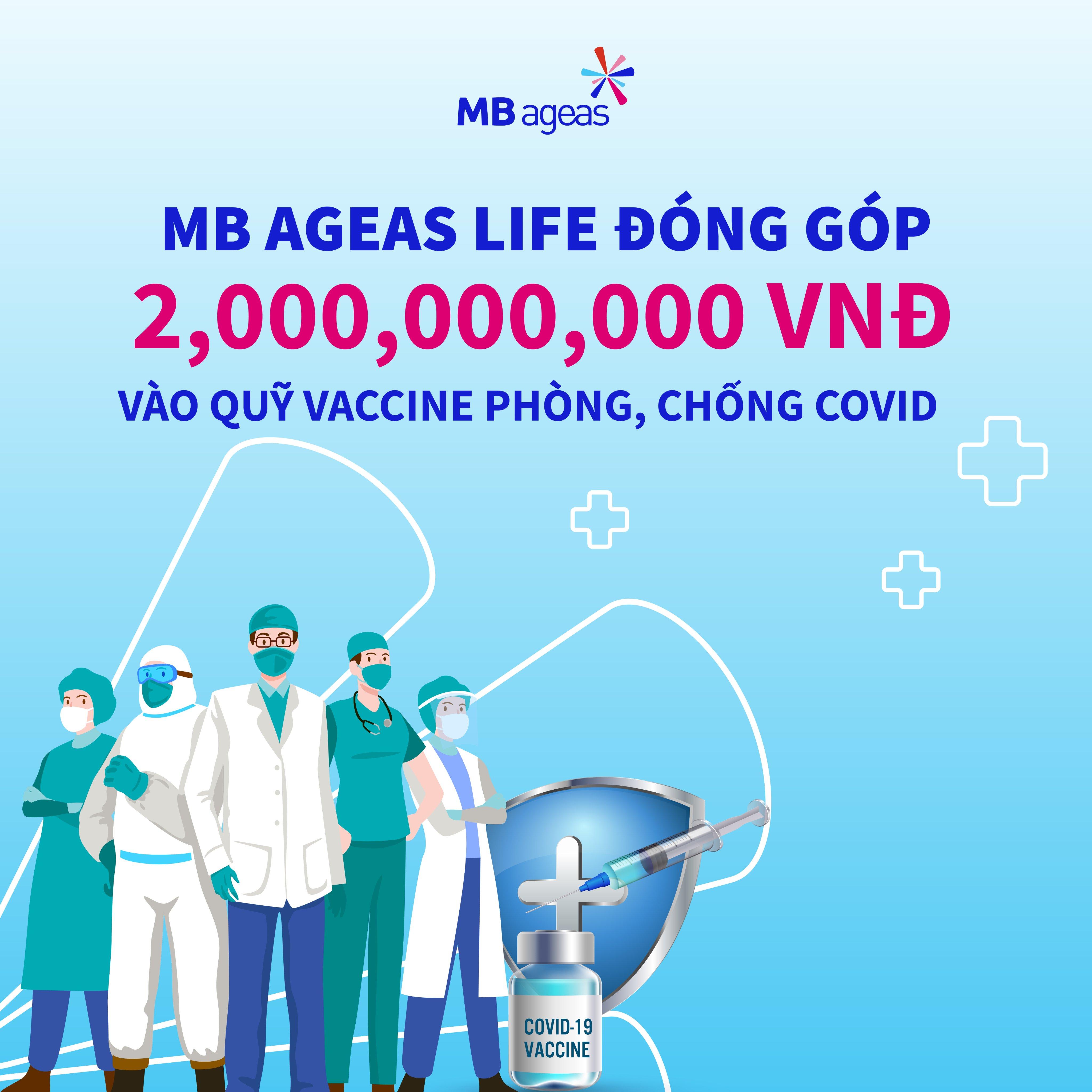 MB Ageas Life ủng hộ 2 tỷ đồng cho Quỹ vắc xin phòng, chống Covid-19.