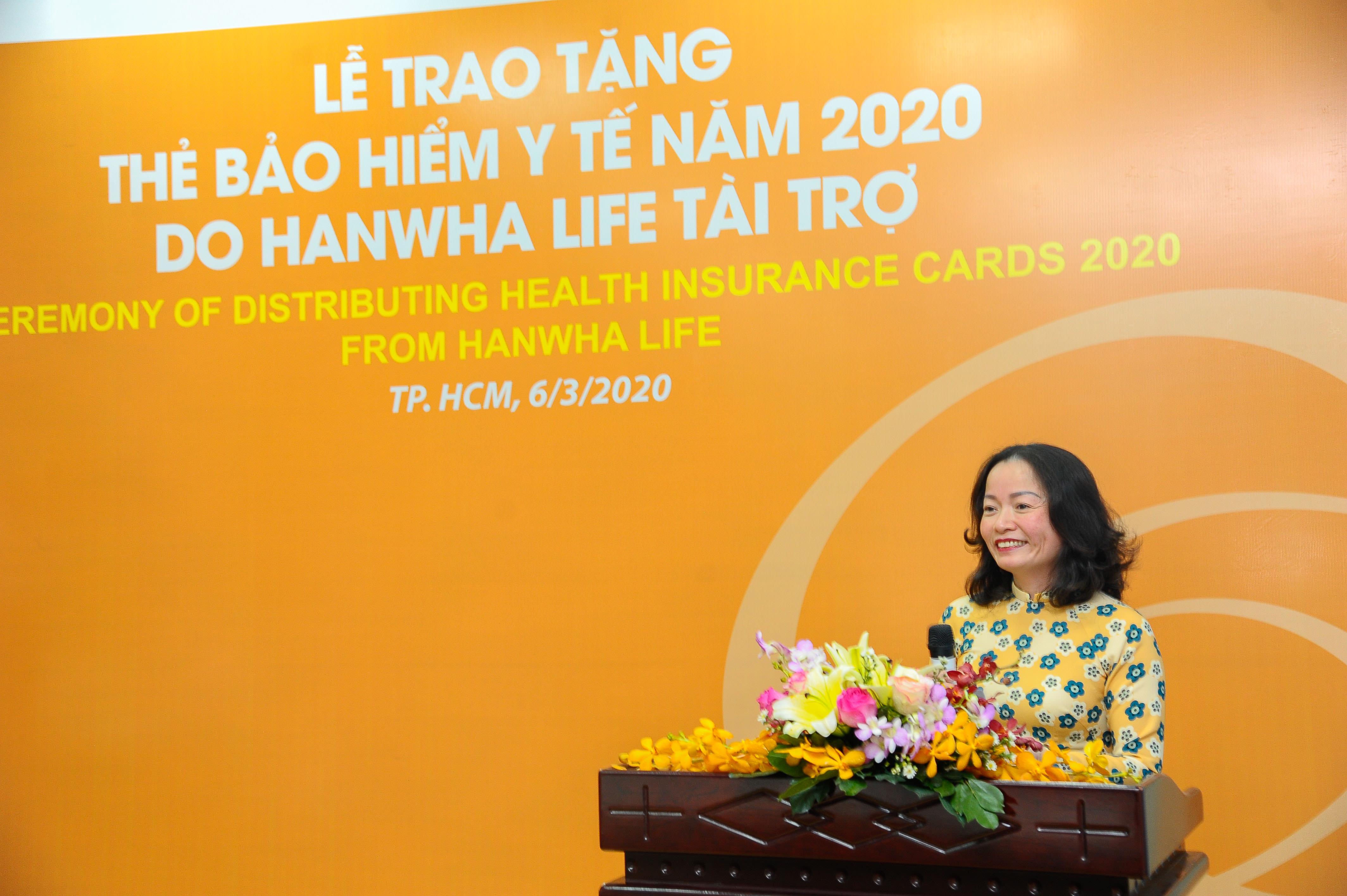 Bà Nguyễn Nhã Ngọc Trâm Anh, Phó Tổng giám đốc điều hành Hanwha Life Việt Nam phát biểu tại sự kiện.