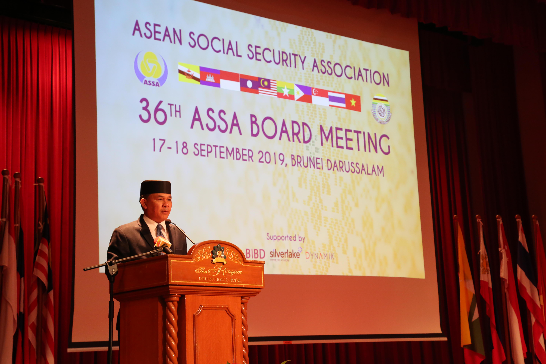 Chủ tịch ETF, Yang Berhormat Major General (Rtd) Dato Paduka Seri Awang Haji Aminuddin Ihsan bin Pehin Orang Kaya Saiful Mulok Dato Seri Paduka Haji Abidin, Bộ trưởng Bộ Văn hóa, Thanh niên và Thể thao Brunei phát biểu chào mừng Hội nghị.