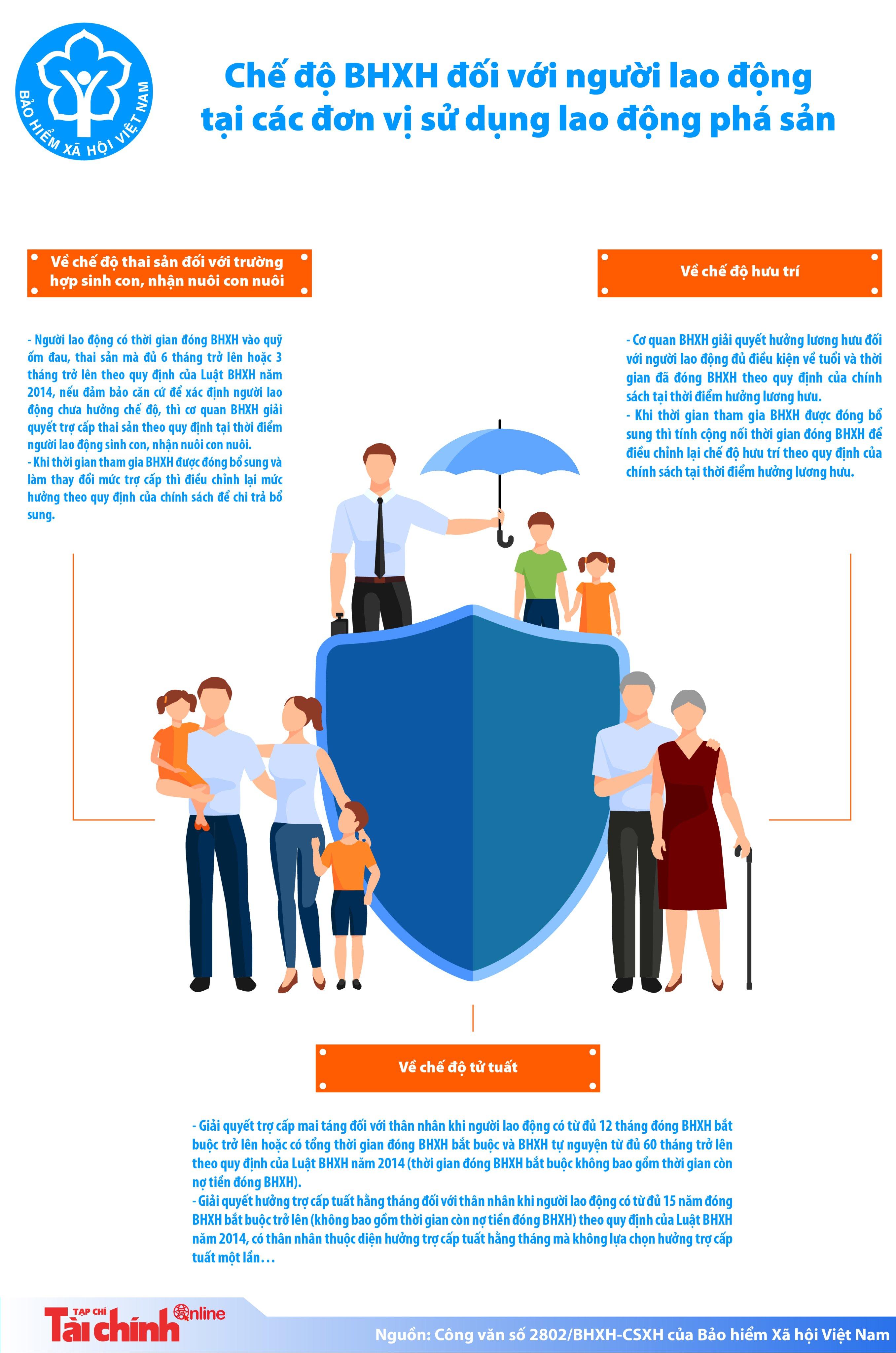 [Infographics] Chế độ bảo hiểm xã hội với người lao động tại đơn vị sử dụng lao động phá sản?  - Ảnh 1