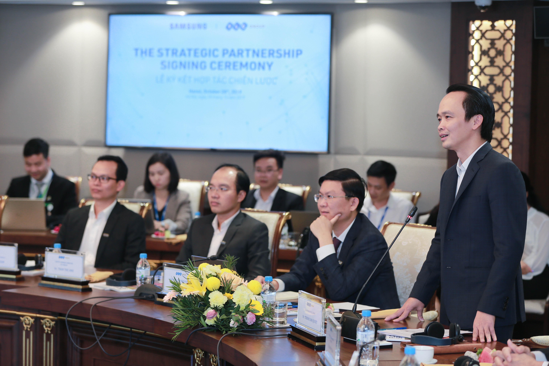Ông Trịnh Văn Quyết, Chủ tịch HĐQT Tập đoàn FLC phát biểu tại Lễ ký kết.