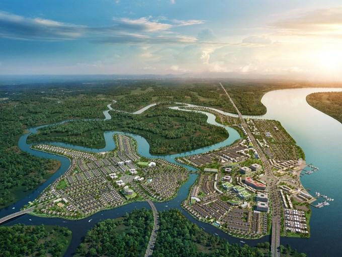 Dự án Đô thị sinh thái thông minh Aqua City của Novaland có quy mô hơn 600 ha tại phía Nam Biên Hòa, Đồng Nai được chọn là dự án bất động sản đô thị tiêu biể. Ảnh NVL