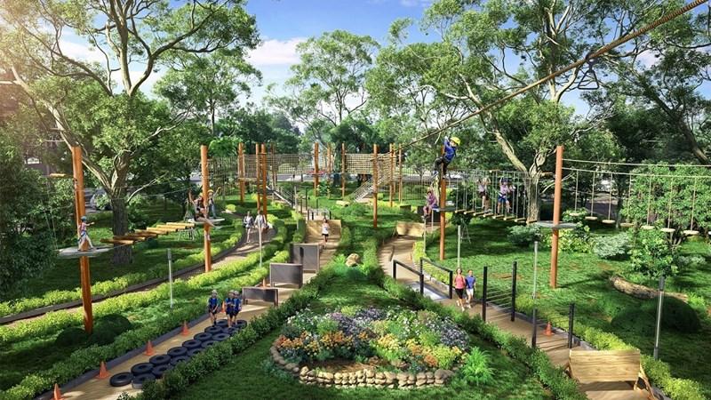 Tổ hợp trò chơi Adventure Forest của Gem Sky Park được đầu tư bài bản theo tiêu chuẩn quốc tế sau khi hoàn thiện sẽ là điểm nhấn mới cho toàn khu công viên 3ha. Ảnh DXG