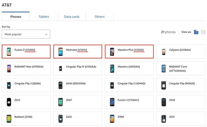 Danh sách các mẫu điện thoại mang thương hiệu AT&T cùng mã sản phẩm đang được phân đối trên trang chủ của hãng. Ảnh Vinsmart