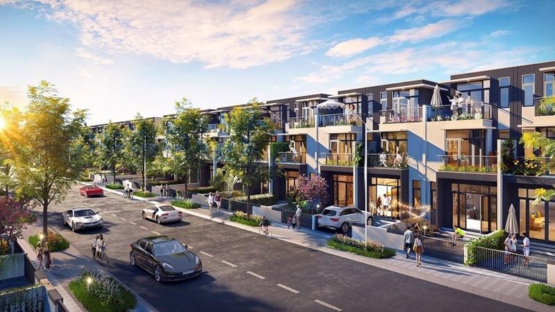 Mỗi căn nhà phố xây sẵn đều có 5m trước và 3m sau để gia chủ bố trí chỗ đậu xe và tạo sân vườn, không gian vui chơi ngoài trời. Ảnh Đất Xanh