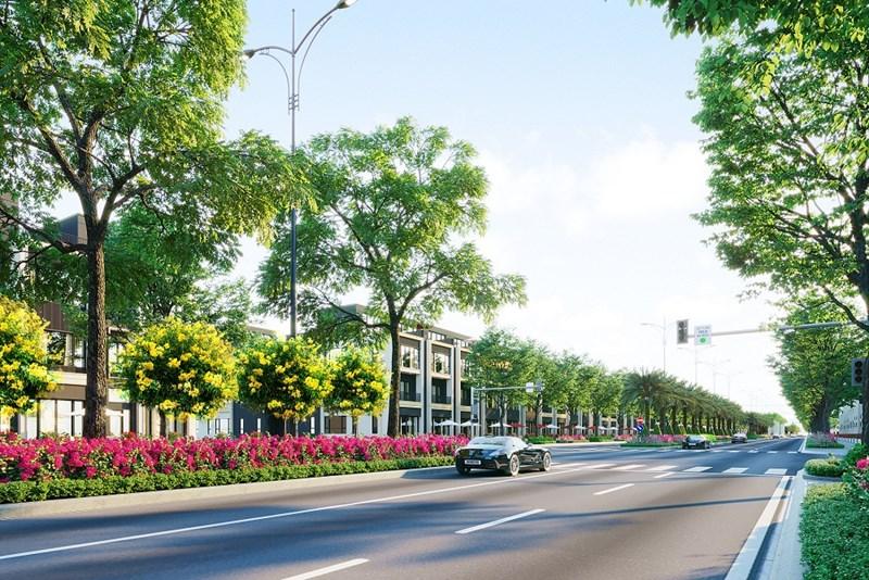 Đại lộ Goldsilk Boulevard dài 2km sẽ được khánh thành trong Quý II/2021. Ảnh: DXG