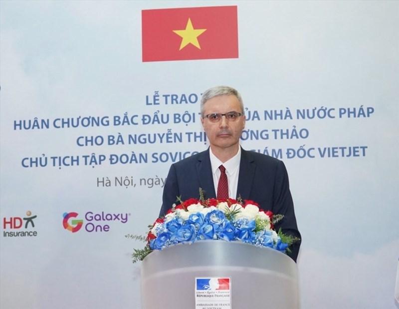 Đại sứ Cộng hòa Pháp tại Việt Nam Nicolas Warnery phát biểu tại buổi lễ. Ảnh: Phú Long