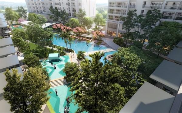 Khu hồ bơi theo tiêu chuẩn resort 5 sao trong lòng khu căn hộ Lavita Thuan An. Ảnh: Hưng Thịnh Land.