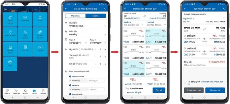Mô tả các bước đặt vé máy bay trên ứng dụng Eximbank Mobile Bankin. Ảnh EIB