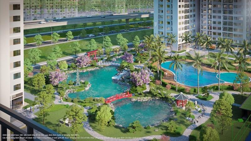 Vườn Nhật đem đến tầm nhìn đắt giá từ ban công cho chủ nhân căn hộ tại The Origam. Ảnh: VIC.