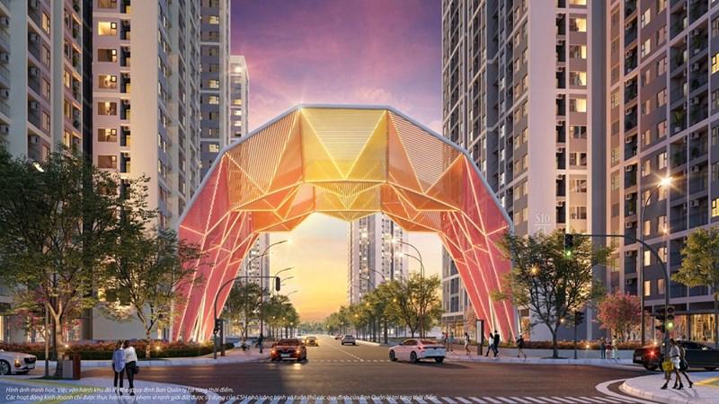 Cổng chào Origami biểu tượng cho văn hoá xứ Phù Tang giữa Đại đô thị. Ảnh: VIC.