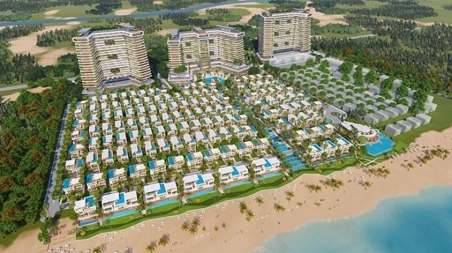 Phối cảnh 1 tổ hợp biệt thự và khách sạn 5 sao nằm trên cung đường biển tỷ đô, hứa hẹn sẽ trở thành biểu tượng du lịch của Đà Nẵng. Ảnh: Hồng Hạnh.