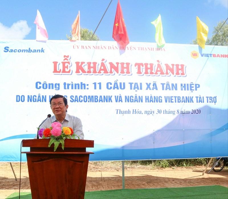 Ông Trương Tấn Sang - nguyên Ủy viên Bộ Chính trị, nguyên Chủ tịch nước Cộng hòa xã hội chủ nghĩa Việt Nam phát biểu tại buổi lễ khánh thành. Ảnh Vietbank