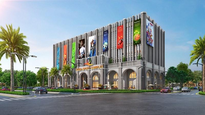 Trung tâm thể thao đa năng Aqua Sport Complex có tổng diện tích 8000m2, qui mô 5 tầng. Ảnh NVL
