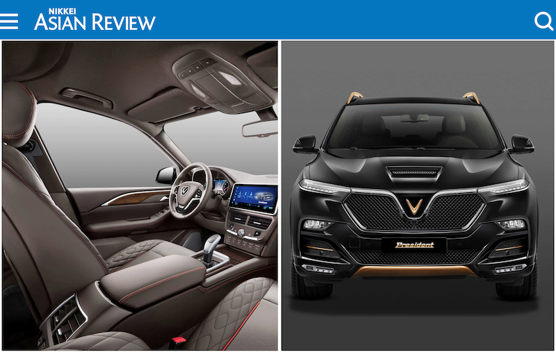 Hình ảnh nội thất và ngoại thất của mẫu xe VinFast President xuất hiện trên tờ Nikkei Asean Review. Ảnh VIC