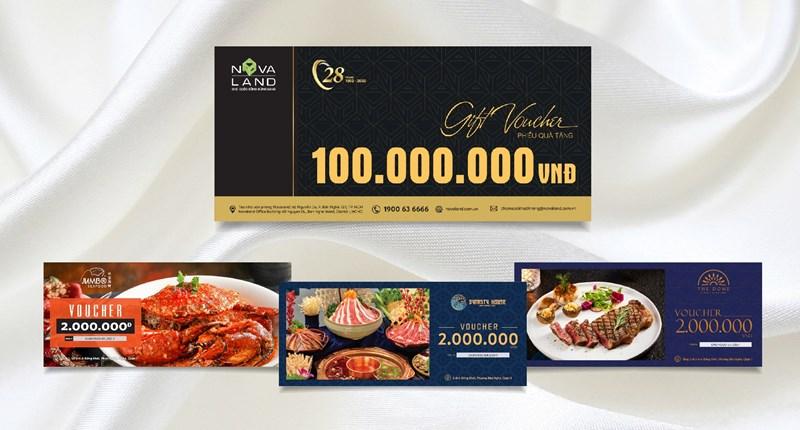 4 loại phiếu quà tặng Novaland dành tặng khách hàng nhân dịp kỷ niệm năm thành lập. Ảnh NVL