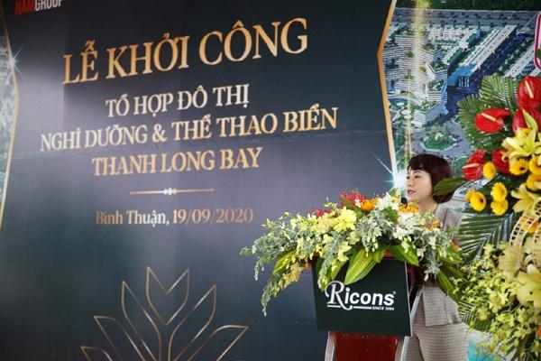 Bà Vũ Thị Như Mai - Phó Chủ tịch HĐQT Nam Group phát biểu tại buổi lễ.Ảnh KQ