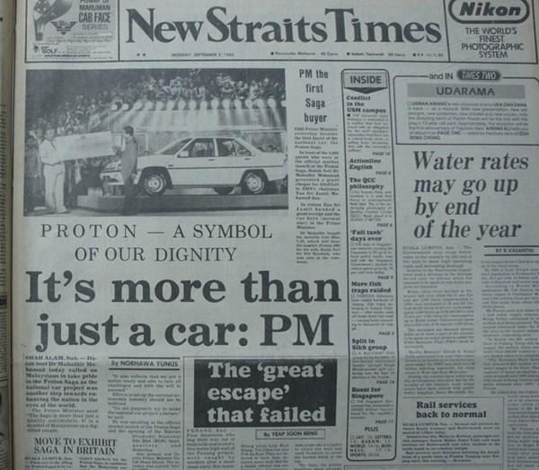 Tờ New Straits Times dành trang chủ để tôn vinh hãng xe Proton như một biểu tượng của ngành công nghiệp Malaysi.