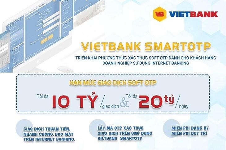 Sử dụng phương thức Soft OTP hạn mức giao dịch có thể lên đến 10 tỷ đồng/giao dịch. Ảnh VB