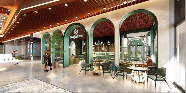 Novaland Gallery bố trí nhà hàng The Dome và cà phê Saigon Casa ngay vị trí gần sảnh đón khách. Ảnh NVL