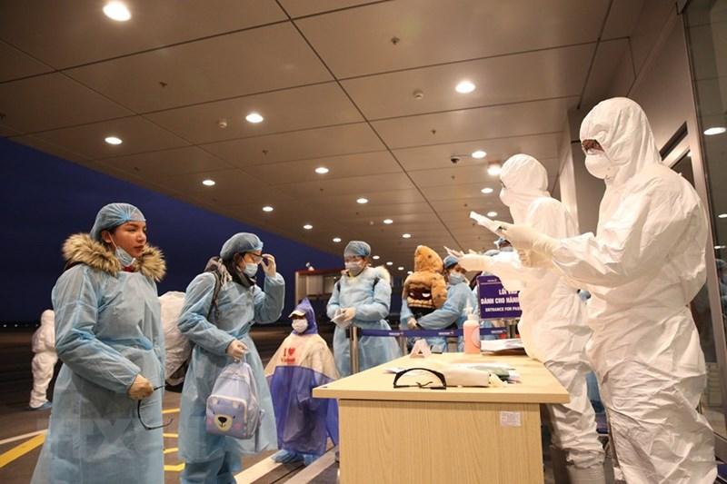 Nhân viên Cảng hàng không sân bay Vân Đồn làm thủ tục nhập cảnh cho công dân Việt Nam trở về từ Vũ Hán (Trung Quốc). (Ảnh: Dương Giang/TTXVN)